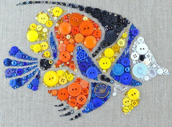 Tropical Fish Button Art 9x12 Wall Hanging от PaintedWithButtons