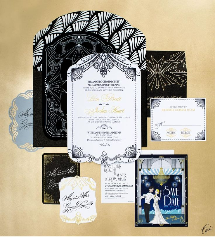 colors + text + feel |||| Our Muse - Modern Deco-Inspired Wedding - Be inspired by Lorin & Jordan's modern deco-inspired wedding - wedding, invitations, foil stamping, die cutting, laser cut, letterpress printing, hand calligraphy, digital printing, hand-drawn