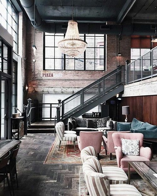 Industrial Interior Design Ideas interiorclassy industrial interior design ideas for restaurant with neat furniture decoration classy industrial interior Via Industrial_interior On Instagram Chandelier And Pink Chairs In Industrial Space Industrial Interiorsindustrial Styleindustrial Designvintage