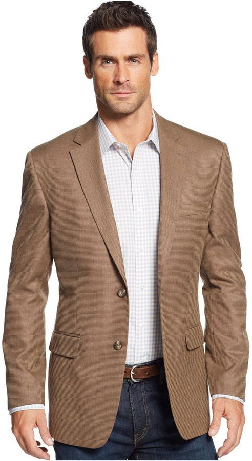 $89, Linen Blend Brown Khaki Texture Sport Coat by Tasso Elba. Sold by Macy's. Click for more info: http://lookastic.com/men/shop_items/214554/redirect