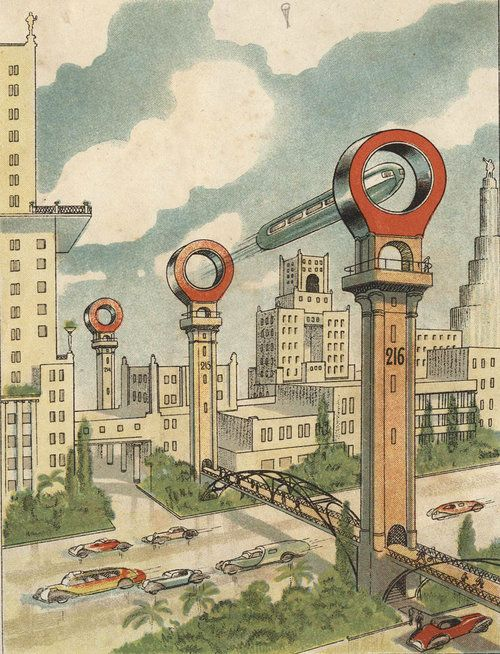 Soviet vision of the future, Retro futurism back to the future tomorrow tomorrowland space planet age sci-fi pulp flying train airship steampunk dieselpunk