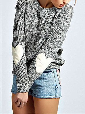Women's Casual/Daily Simple Regular Pullover,Solid Gray Round Neck Long Sleeve Polyester Fall / Winter Medium Micro-elastic – USD $ 53.30