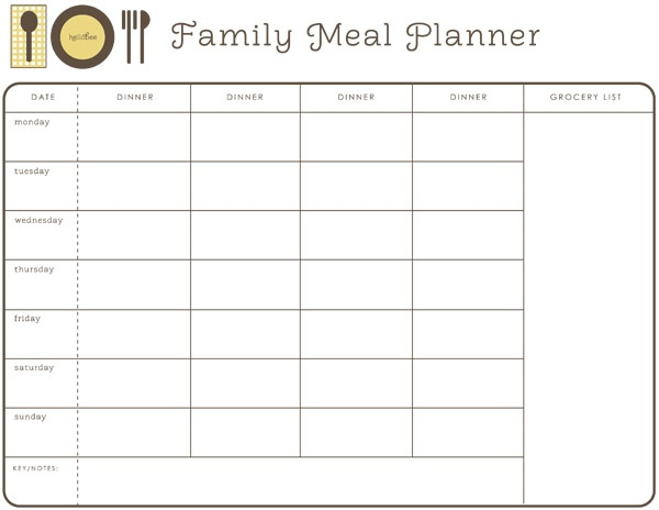 Printable meal planner/menus from Hellobee!