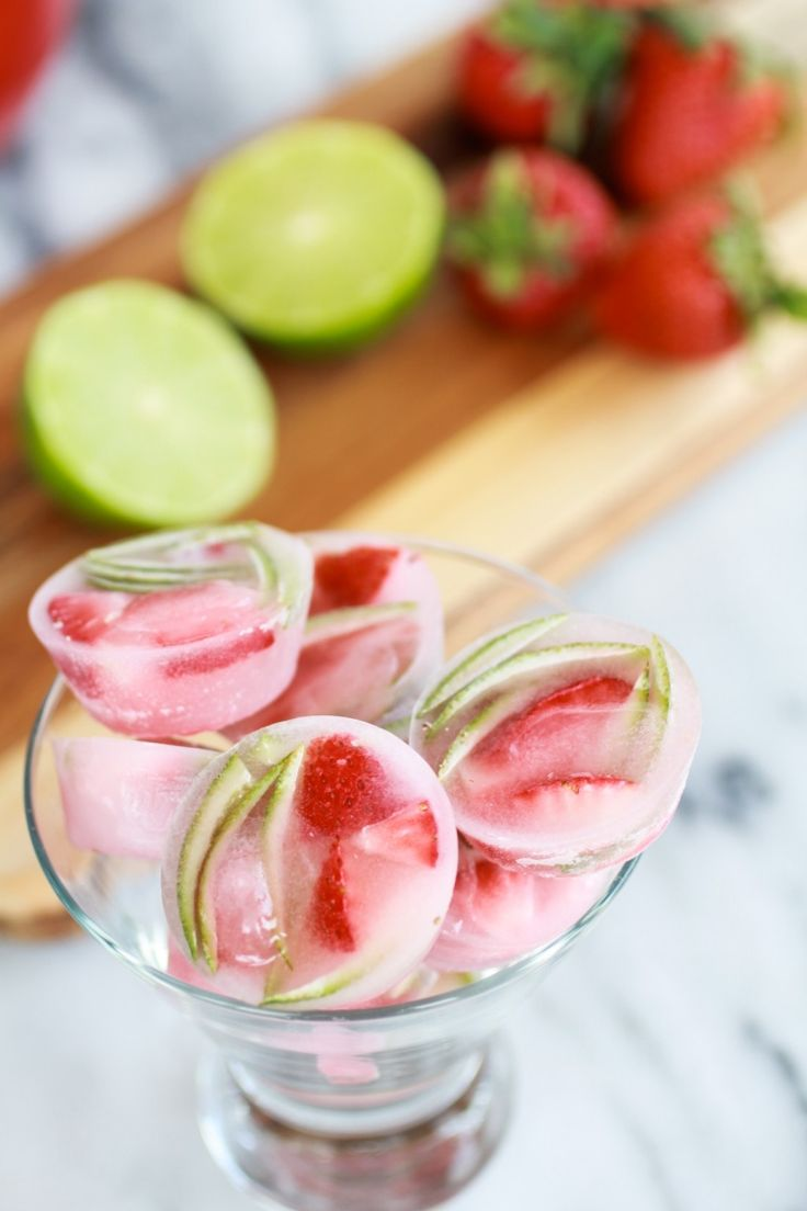 Strawberry-lime ice--delicious and so pretty!