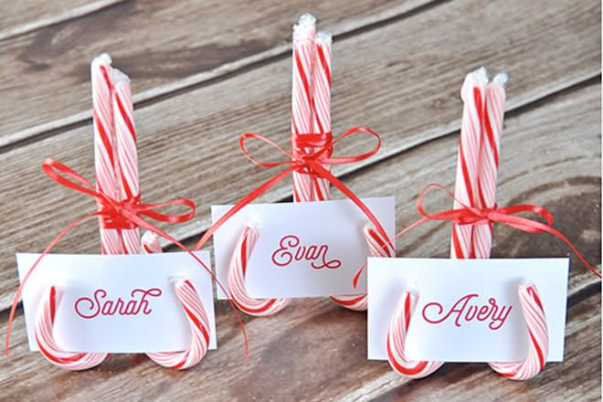 Candy cane place holders for the Christmas table