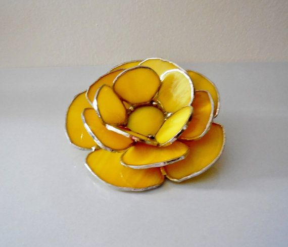 Stained Glass Waterlily. Yellow Candle Holder. by jacquiesummer, $45.00