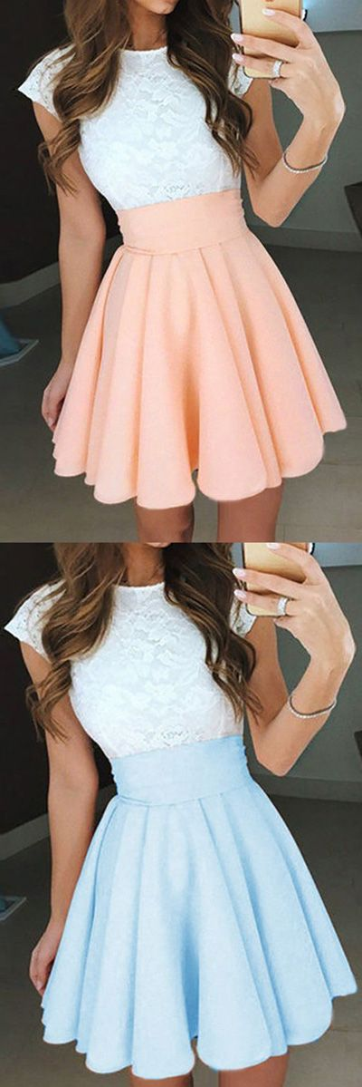 A Line Jewel Neck Capped Sleeve Keyhole Back Appliques Short Homecoming Dress H265 Short Prom Dresses, Homecoming Dresses, Prom Gowns, Party Dresses, Graduation Dresses, Short Prom Dresses, Gowns Prom, Cheap Prom Gowns on Line