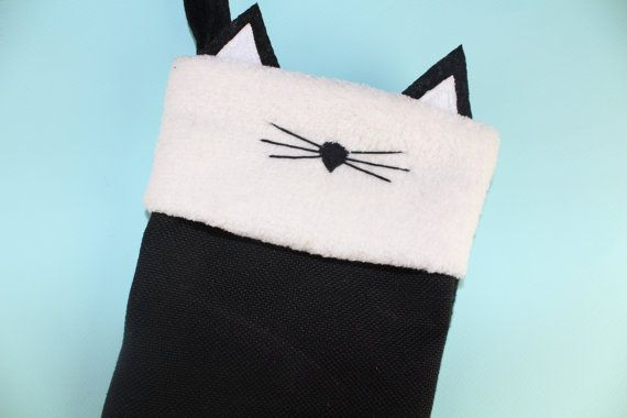 Burlap Cat Christmas Stocking Paw Black Cat Decoration Gifts for Cat Lovers Unique Decorations Crazy Cat Lady