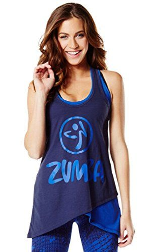 Zumba Two-Tone Long Loose Tank (Small, Let's Go Indigo) ** Learn more by visiting the image link. #WomensActivewear