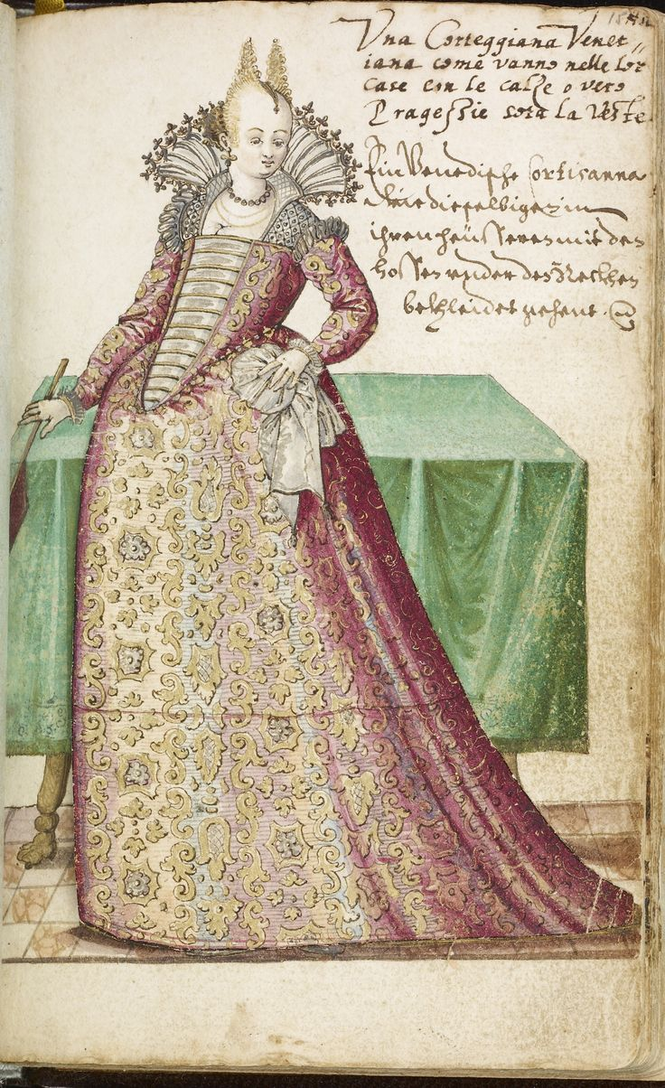 Venetian courtesan from a manuscript on Italian Costume, decorated by the German artist Niclauss Kippell. C1588. Walters Art Museum.