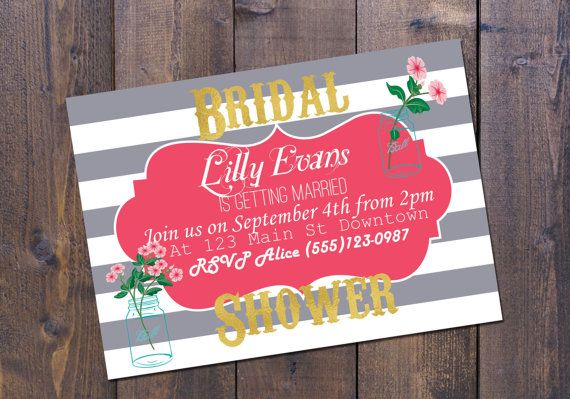 Striped bridal shower invitation can also be made to custom colour scheme