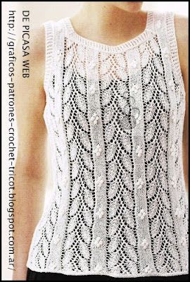 Musculosa tejida a dos aguas , tricot. http://donny-tejidostricotysusgraficos.blogspot.com.ar/2012/07/musculosa-tejida-dos-agujas-con-su.html