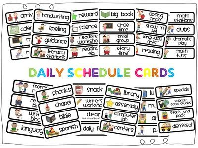 Daily Schedule cards - ah, perfect! so many to choose from, good font, & picture matches nicely to the task!
