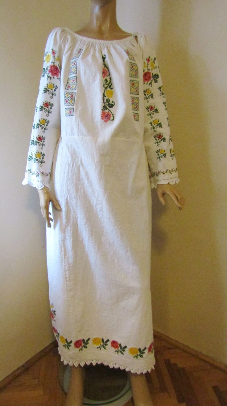 Antique Romanian traditional costume dress from western Transylvania, BANAT folkoric region.  For sale at www.greatblouses.com
