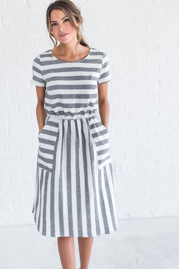 Yours Truly Charcoal Striped Dress | Cute Dresses with Pockets