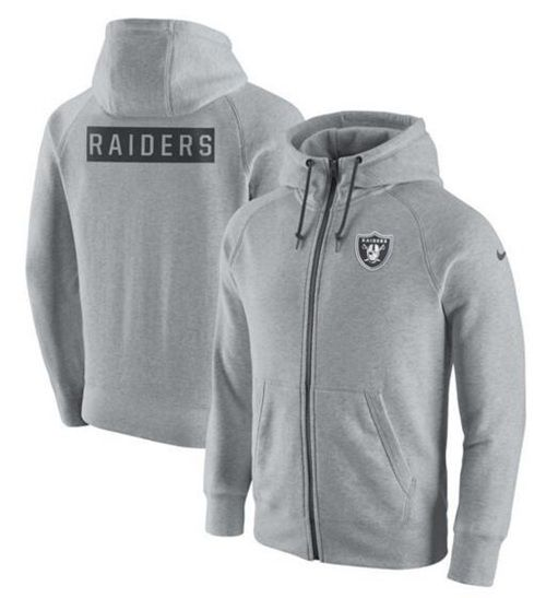 5c1a11851 Men s Oakland Raiders Nike Ash Gridiron Gray 2.0 Full-Zip Hoodie ...