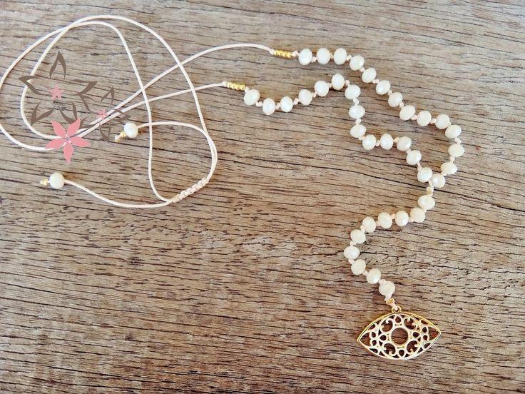Cream Rosary Crystal Eye Charm Handmade Necklace