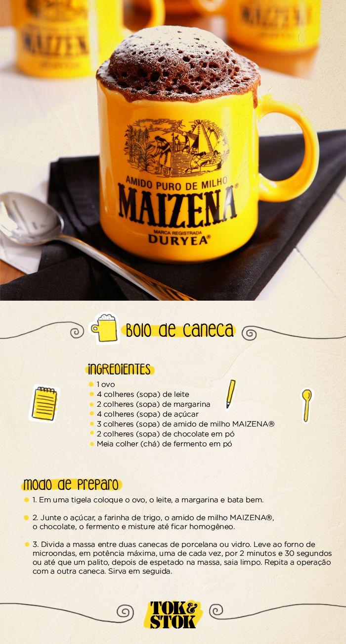 Receita de bolo de caneca e a caneca da nossa parceria com MAIZENA®.