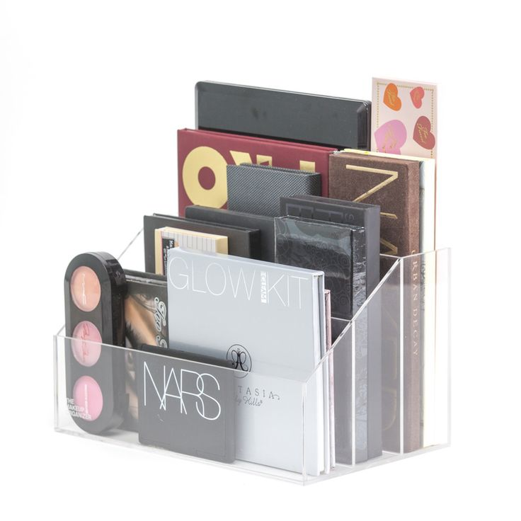 """Sophie Makeup Palette Holder"" stores all your makeup palettes for easy access. It has 3 sections to help keep you organized. Designed for you to clearly see your makeup. The ""Acrylic Modular Storage"