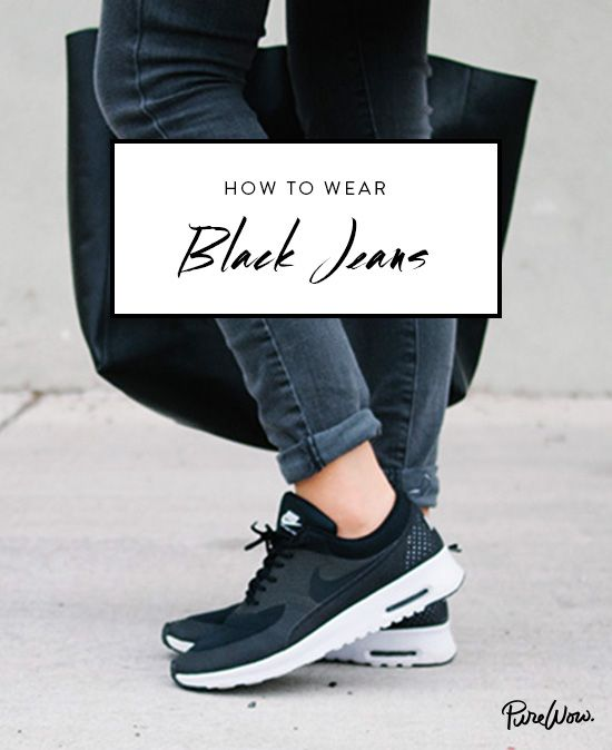Want to wear your gym sneakers (like, your actual gym sneakers)? Opt for black on black. Sure, it's laid-back, but it's also appropriate for more than just a grocery run.    How to Wear Black Jeans via @PureWow