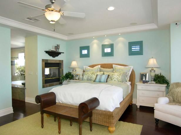 Airy Bedroom: Two Way Fireplace, Blue Wall Colors, Blue Walls, Fireplaces, Master Bedroom, Blue Colors, Color Palette