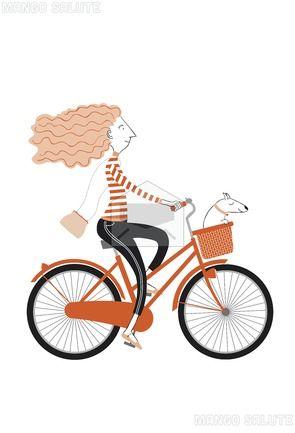 Woman on a bike by Nina Cuneo - Mango Salute Greeting Card - The art of greeting
