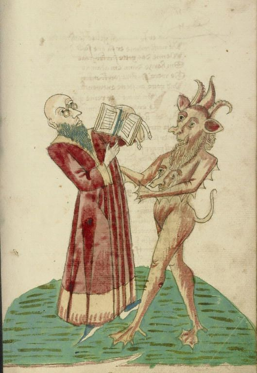 Theodas with the Book of Magic and the Devil, by follower of Hans Schilling and Workshop of Diebold Lauber. Hagenau, France c. 1469 via Getty Open Content Program
