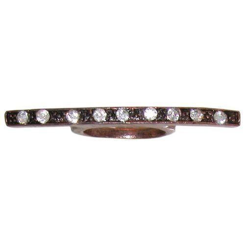 """2"""" Wide Curved Bar Ring with Rhinestones, Rough Hewn , Size 8 . $1.99"""