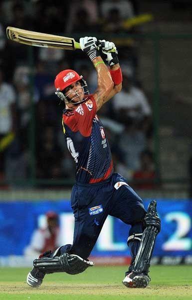Delhi Daredevils batsman Kevin Pietersen plays a shot during the IPL Twenty20 cricket match between Deccan Chargers and Delhi Daredevils at The Feroz Shah Kotla stadium in New Delhi on April 19, 2012.
