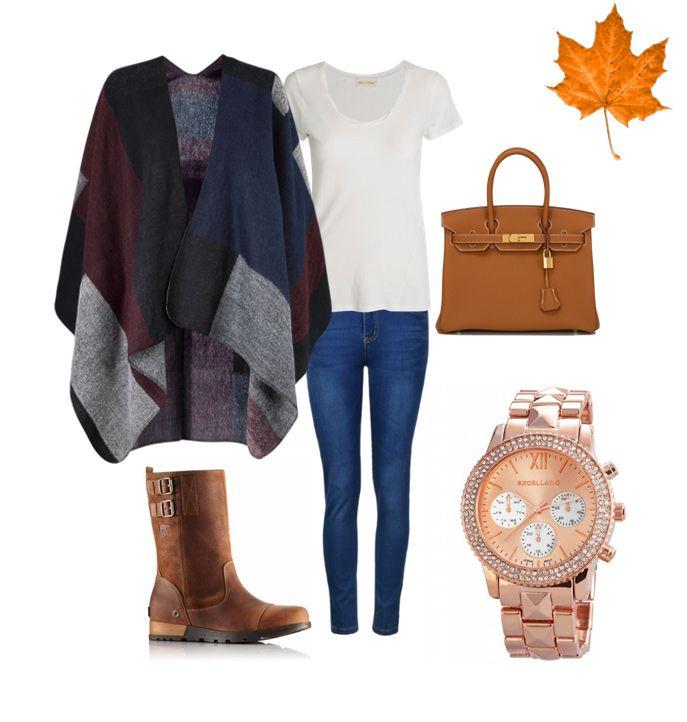 A melegebb őszi napokon jöhetnek a poncsók! Kombináld klasszikus farmer-póló szettel és rosegold kiegészítőkkel.