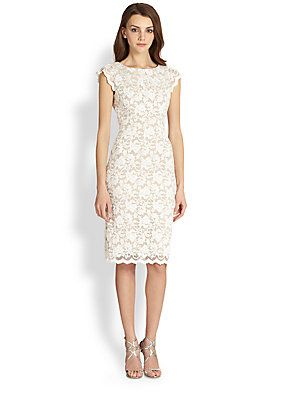 ABS Lace Cap Sleeve Dress Saks Fifth