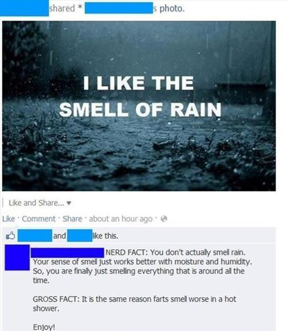 The Smell Of RainI like the smell of rain. Funny pictures  Cool quotes  Funny memes