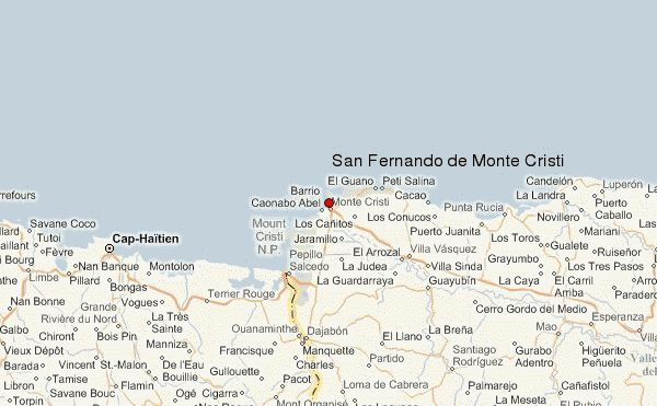 The above topographic map of San Fernando de Monte Cristi and the surrounding area has been derived from satellite mapping. Description from weather-forecast.com. I searched for this on bing.com/images