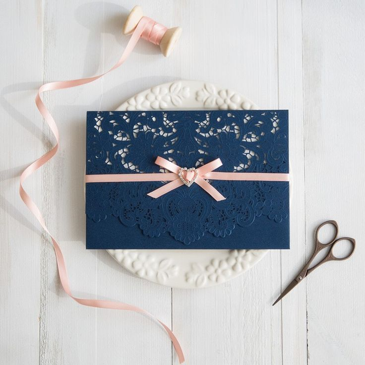navy blue and peach wedding colors inspired laser cut wedding invitations swws028