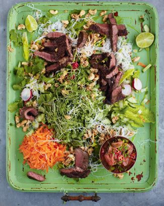 seared asian beef best noodle salad and ginger dressing - 15 minute meals, Jamie Oliver