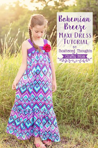 Bohemian Breeze Maxi Dress Tutorial for Girls from Scattered Thoughts of a Crafty Mom