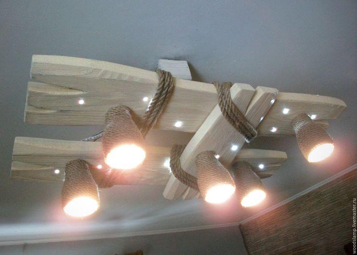 Купить Деревянная люстра с светодиодными точками и плафонами из каната - белый, люстра, лампа, светильник, деревянный