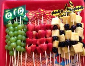 superhero logo sign made out of mixed fruit