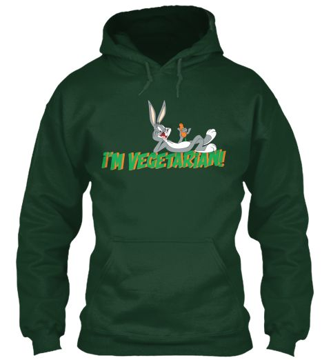 I'm Vegetarian T Shirt Forest Green Sweatshirt Front
