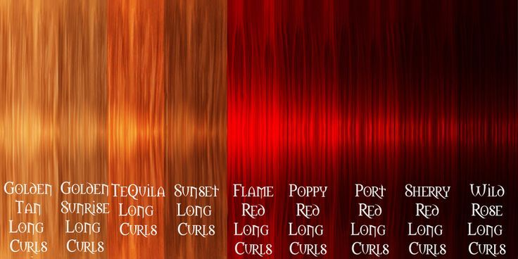 red brown hair colour chart - Google Search