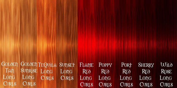 red brown hair colour chart - Google Search