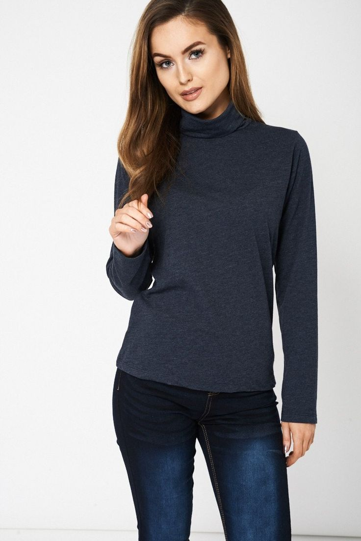 Charcoal Roll Neck Top Ex-Branded