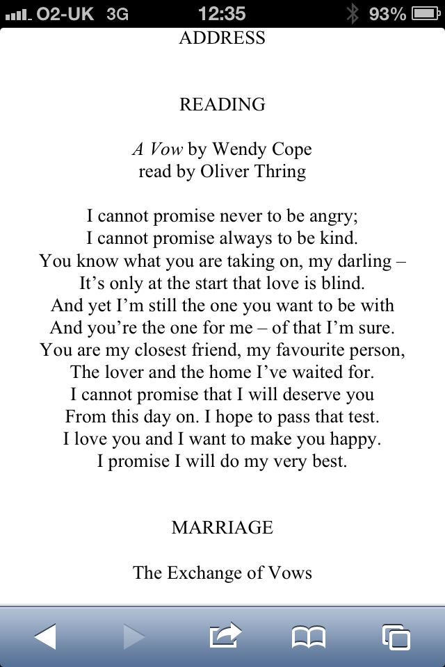 Wedding Poem Brought A Tear To My Eye Love Wendy Cope Weddingvows Ceremony In 2018 Pinterest Poems And Vows