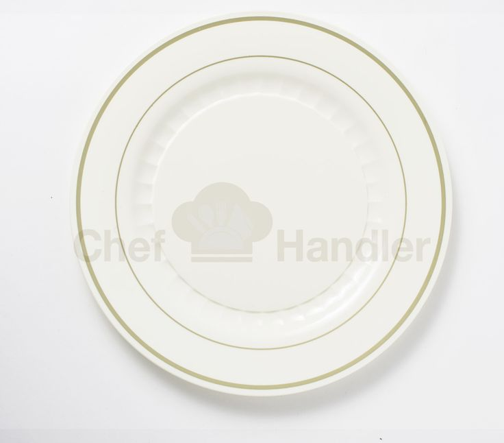 Our Mystique Round Elegant Plastic Plate is available in both Beige-Gold (like you see here) as well as in Silver-White. Be sure to check out Chef Handler ... : heavyweight plastic plates - Pezcame.Com