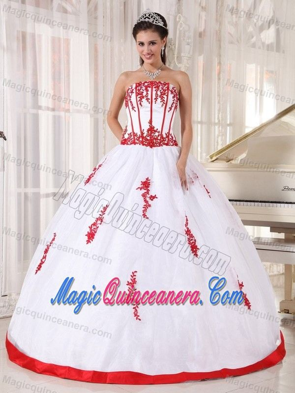 White Beaded Quinceanera Dresses with Red Appliques in Bristol