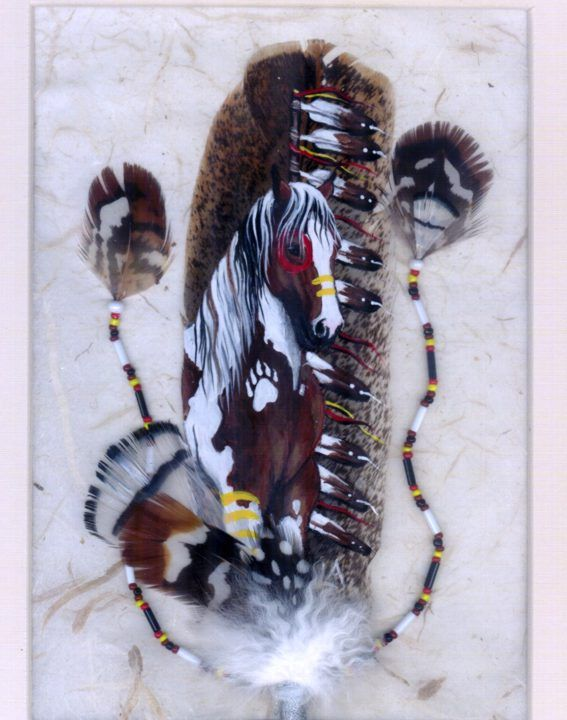 Horse feather art by Linda Andersen