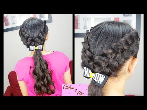 V Braids and Curls | Easy hairstyles | Hairstyles for School | Braided hairstyles | Curls - YouTube