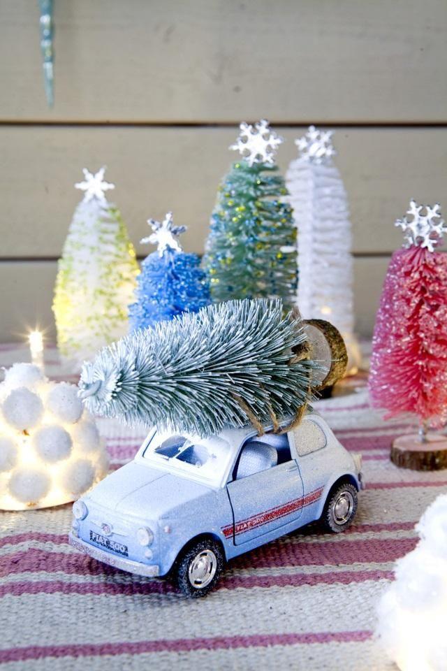 Tee pikkukuusia pulloharjoista. Craft mini christmas trees using bottle brushes.   Unelmien Talo&Koti Kuva: Satu Nyström Toimittaja: Anette Nässling