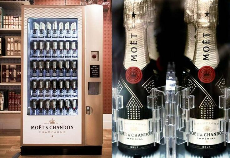 Moet & Chandon recently created the most classy vending machine to date! A vending machine that dispenses champagne. Located in the Selfridges department store in London, is this unique vending machine that sells miniature bottles of champagne.