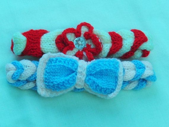 Hand Knitted Plaited Babys Head Band with by Creationsfortinytots